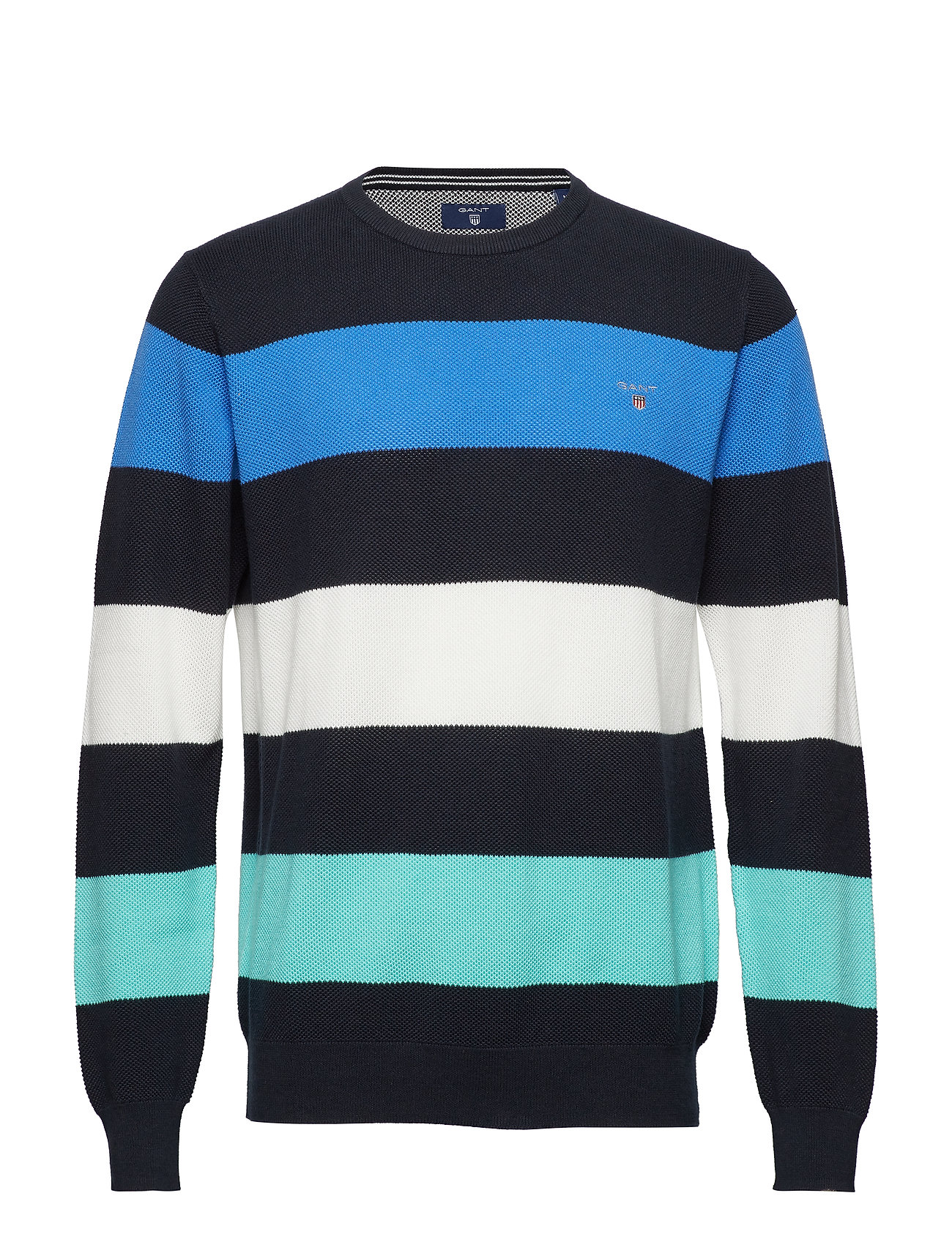 GANT COTTON PIQUE MULTISTRIPE CREW - EVENING BLUE