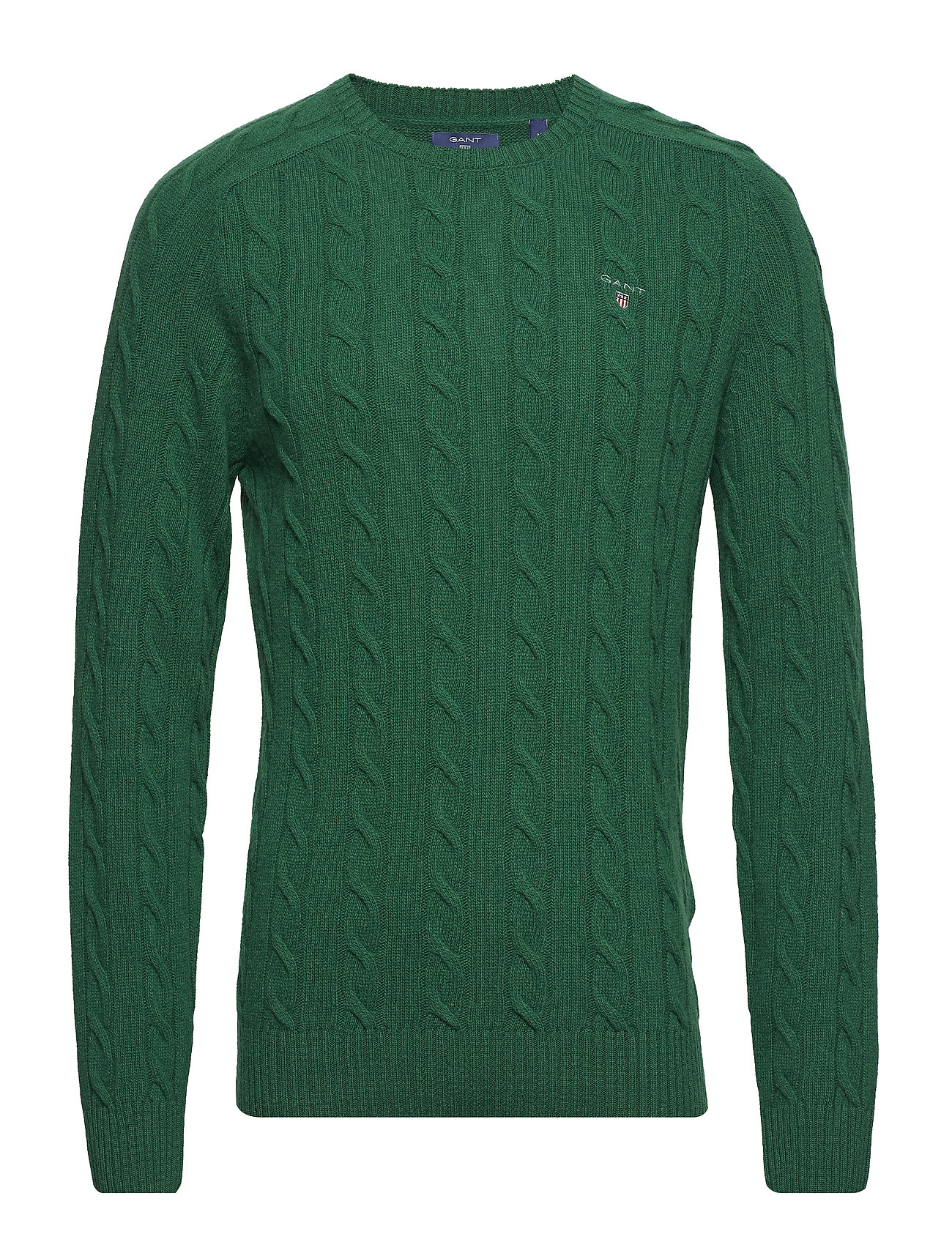 GANT O3. LAMBSWOOL CABLE CREW - IVY GREEN