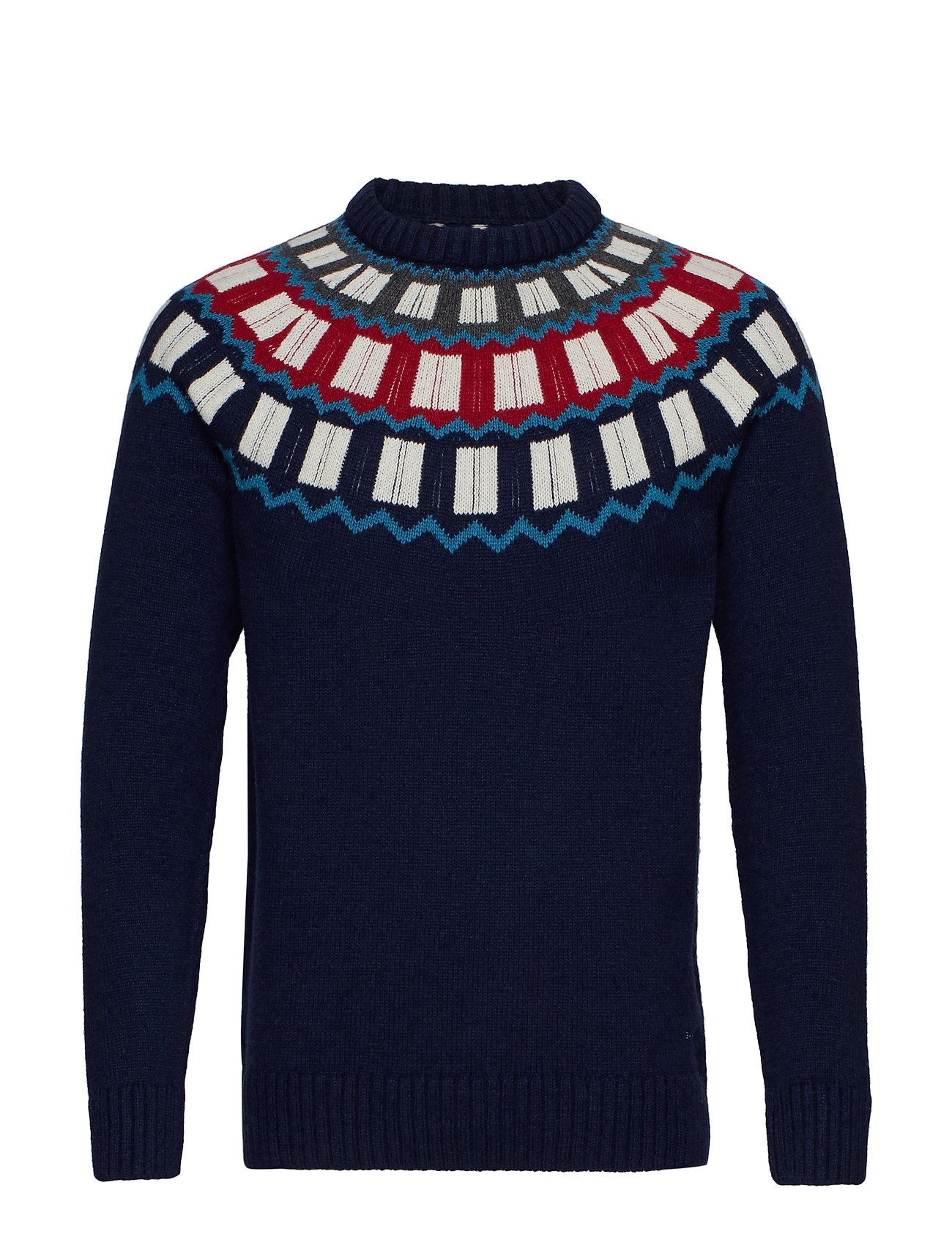 Gant D2. HOLIDAY FAIRISLE CREW - EVENING BLUE