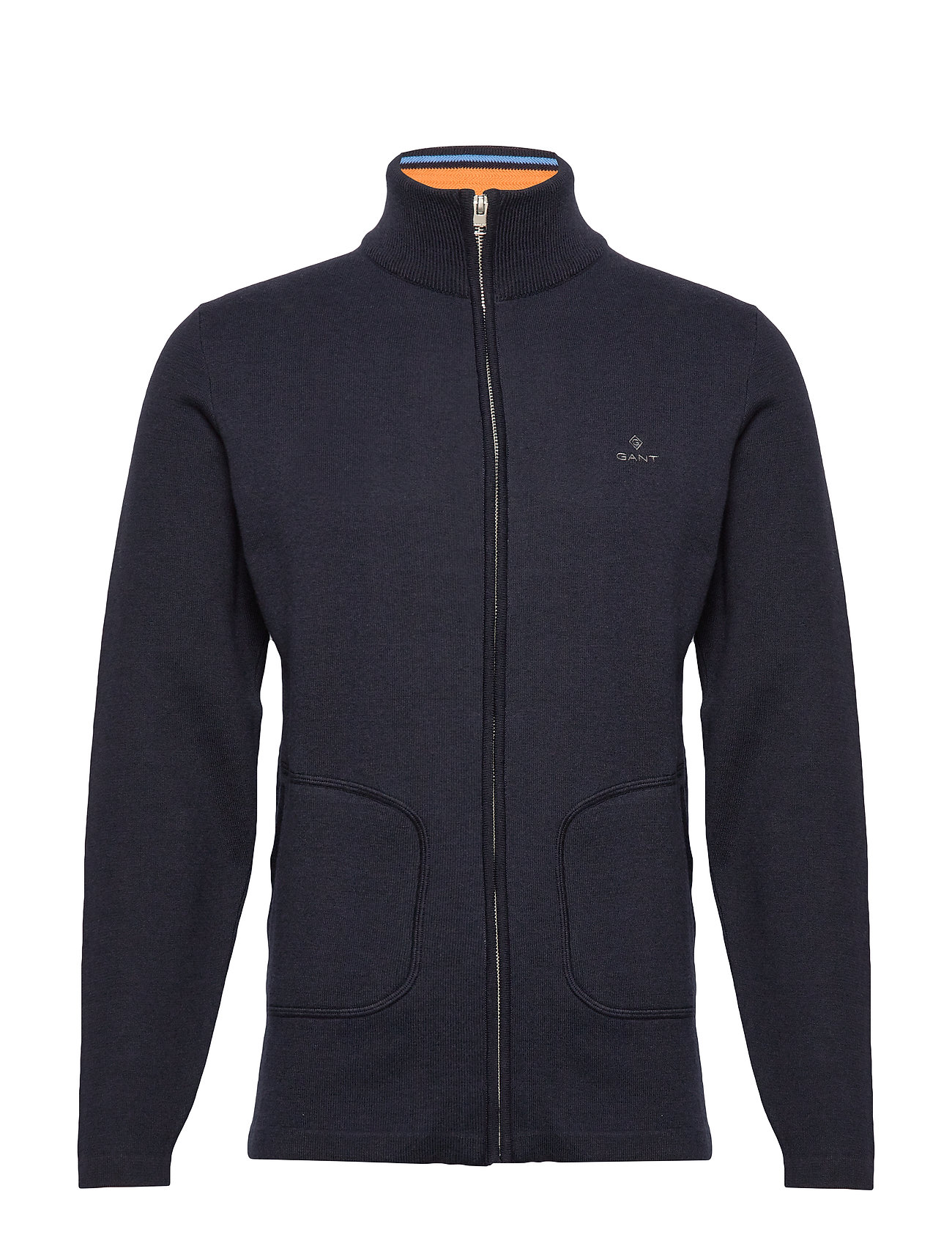 Gant D1. DOUBLE FACED FULL ZIP CARDIGAN - EVENING BLUE