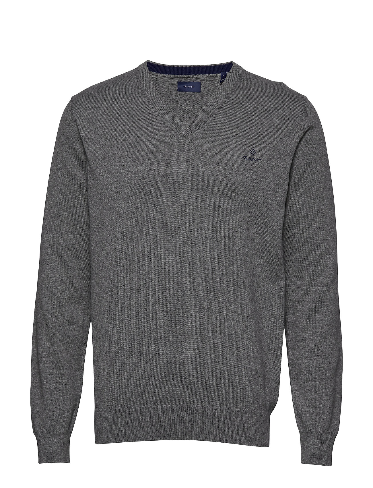 Gant CLASSIC COTTON V-NECK - DARK GREY MELANGE