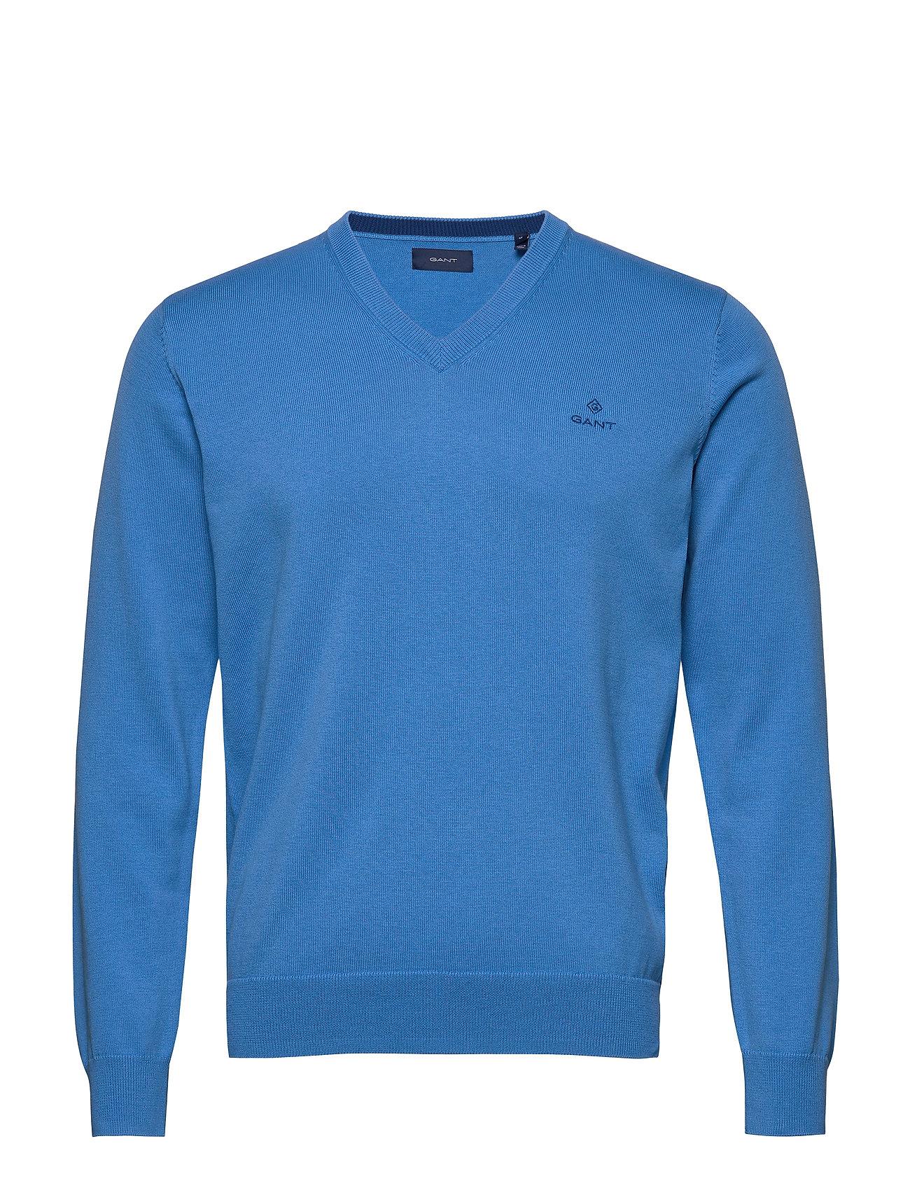 Gant CLASSIC COTTON V-NECK - PACIFIC BLUE