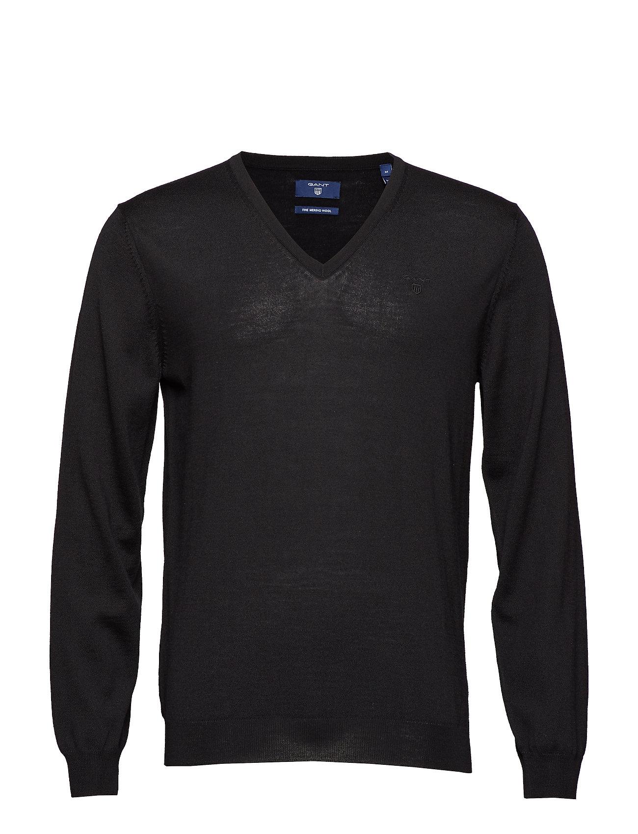 Gant FINE MERINO V-NECK - BLACK