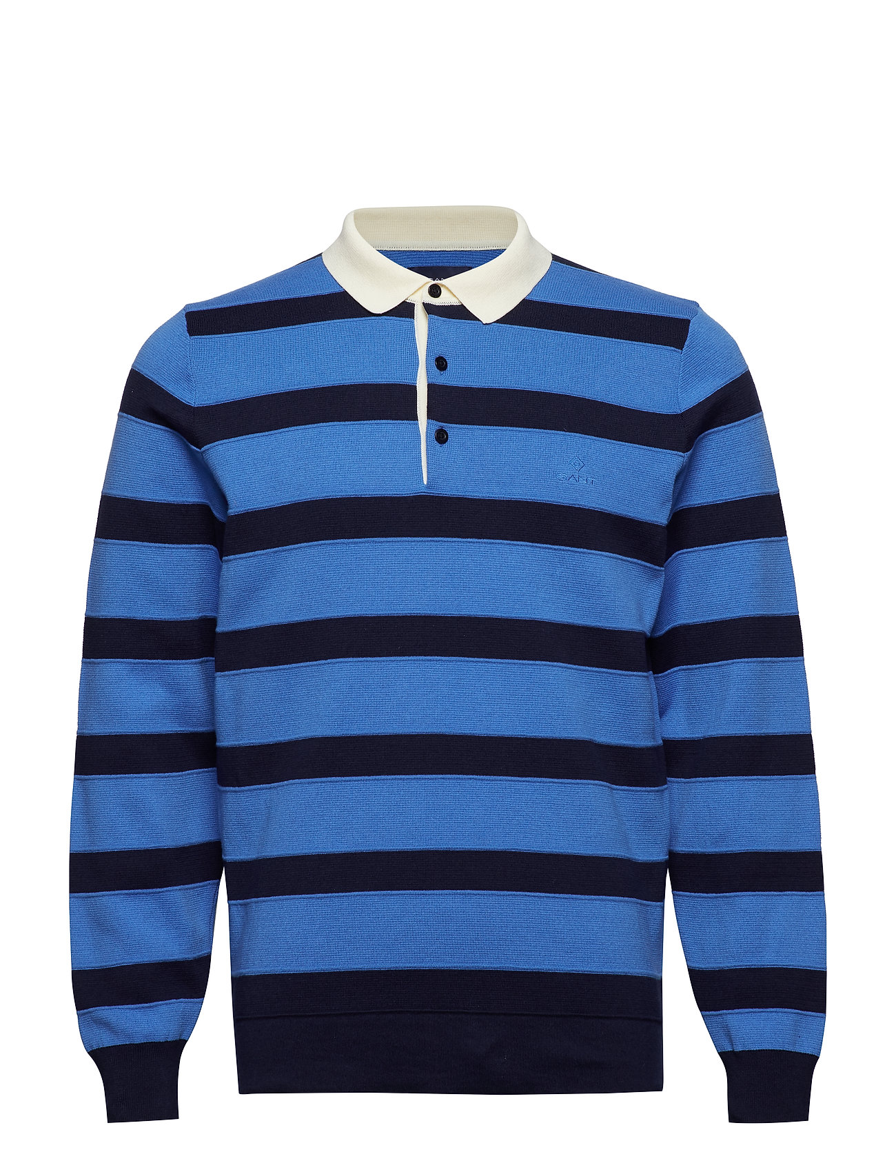 Gant O1. KNITTED STRIPED RUGGER - PALACE BLUE