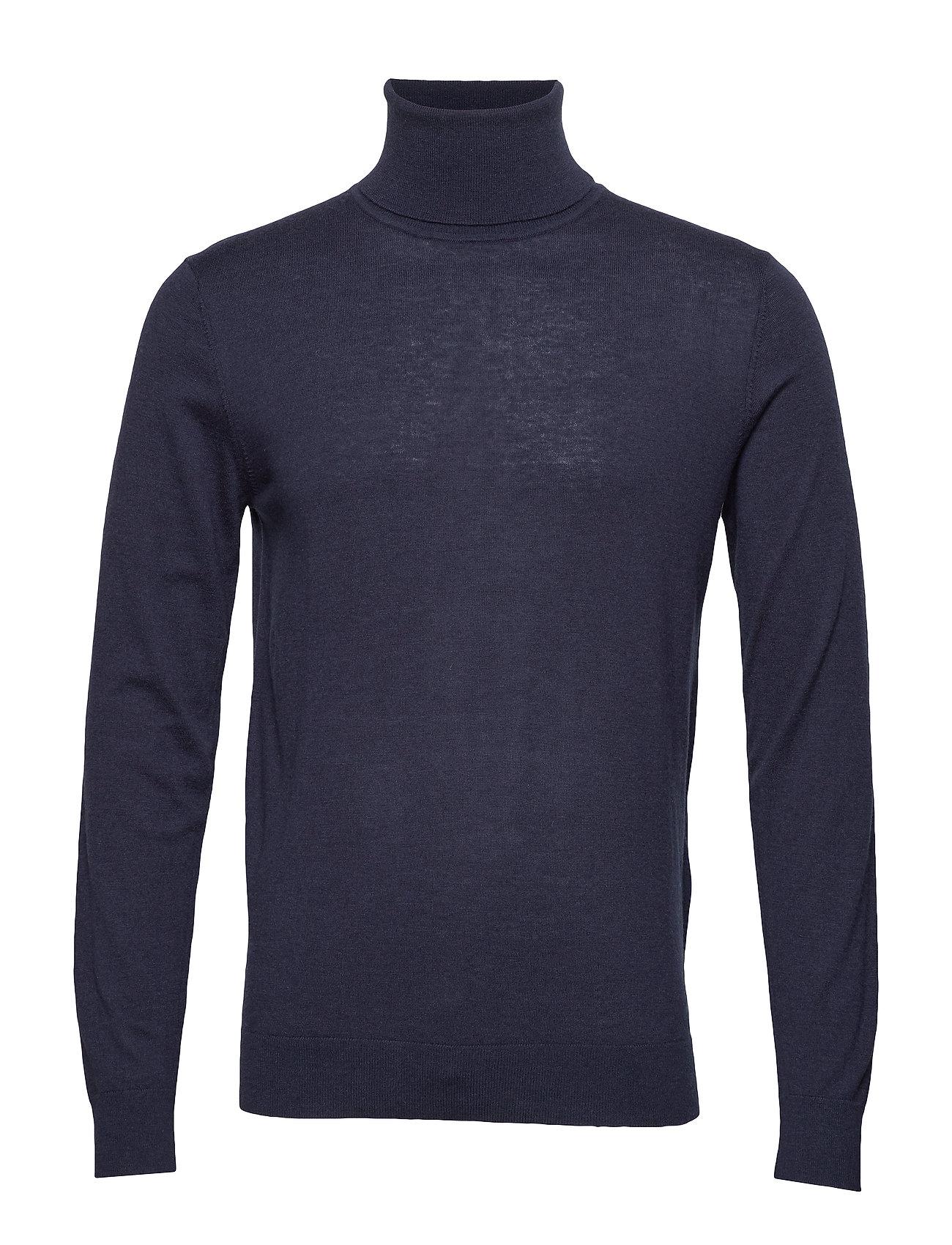 GANT O1. Merino Silk Turtle Neck Knitwear Turtlenecks Blau GANT