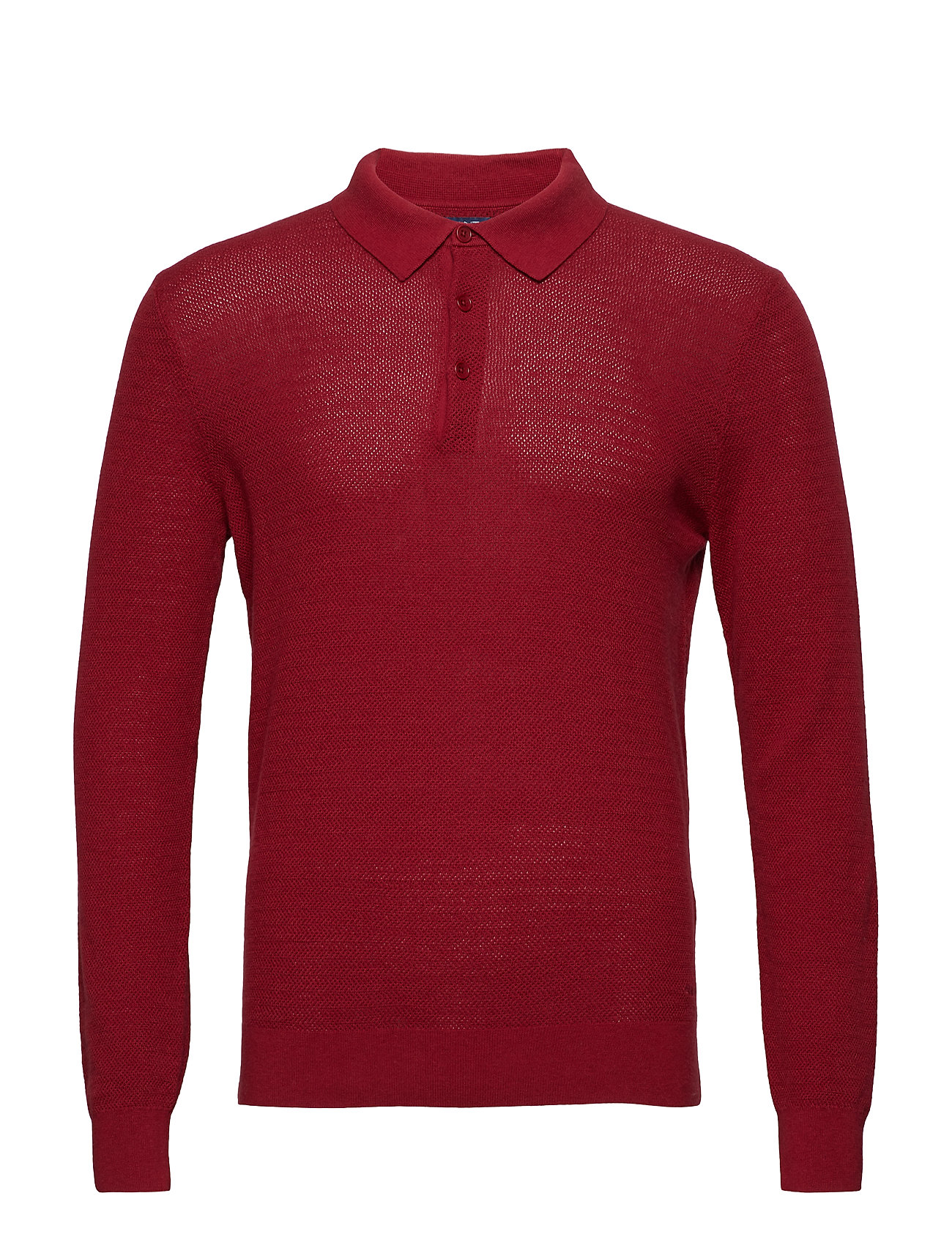 GANT O2. COTTON CASHMERE TEXTURED POLO - MAHOGNY RED