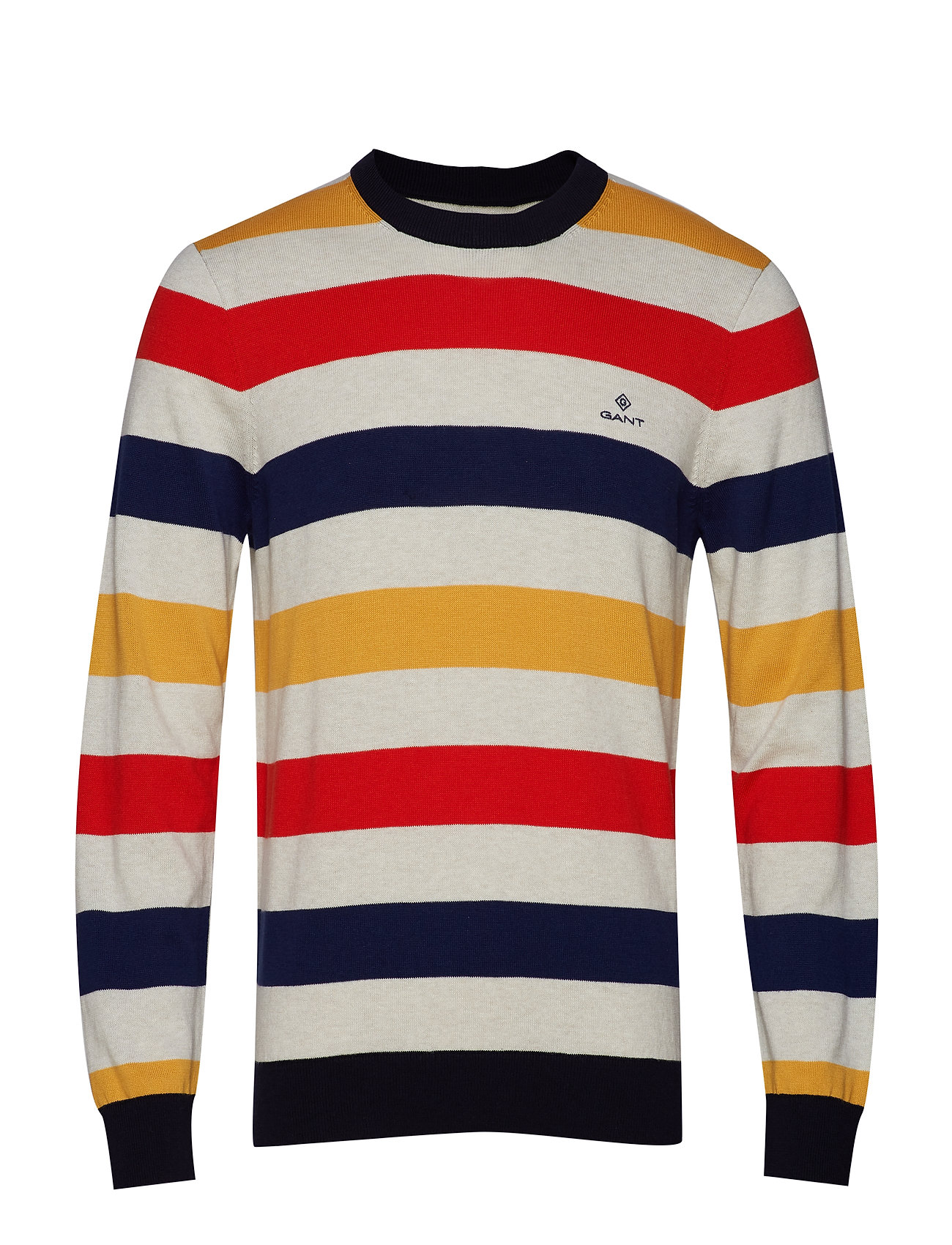 GANT D1. MULTI COLORED STRIPE CREW - BLOOD ORANGE