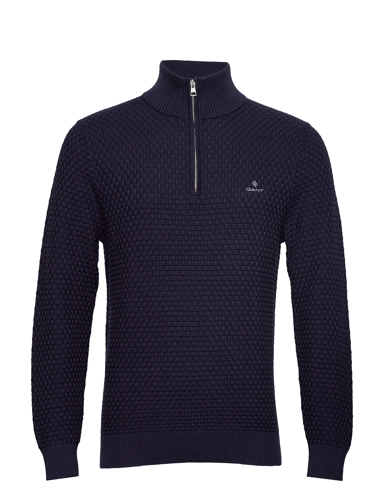 GANT D1. SIGNATURE WEAVE HALF ZIP - EVENING BLUE