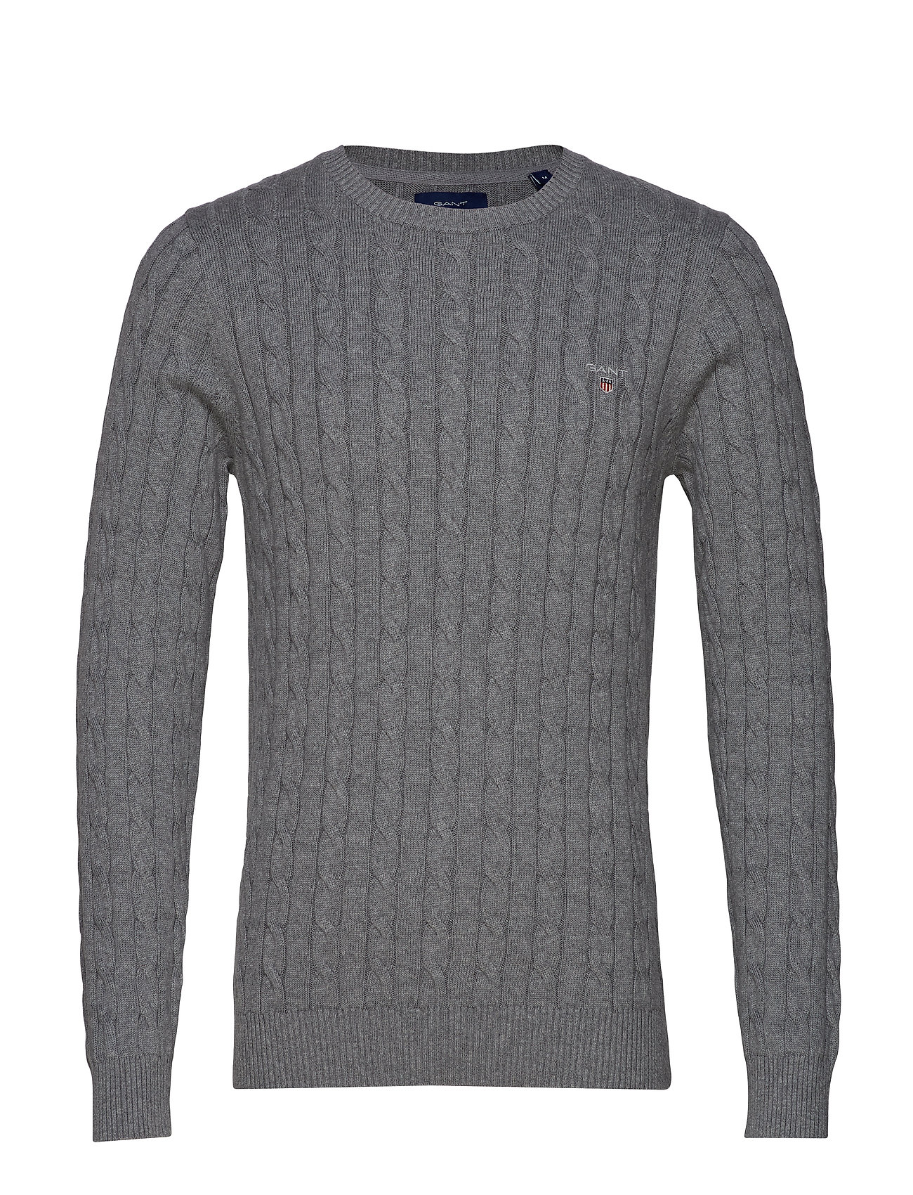 Gant COTTON CABLE CREW - DARK GREY MELANGE
