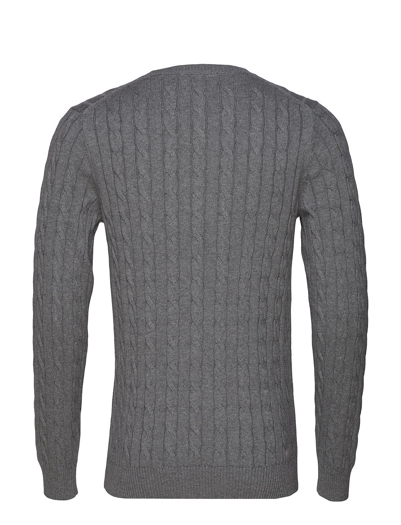 Grey Cable Cotton Crewdark Cotton MelangeGant nwvmN08O