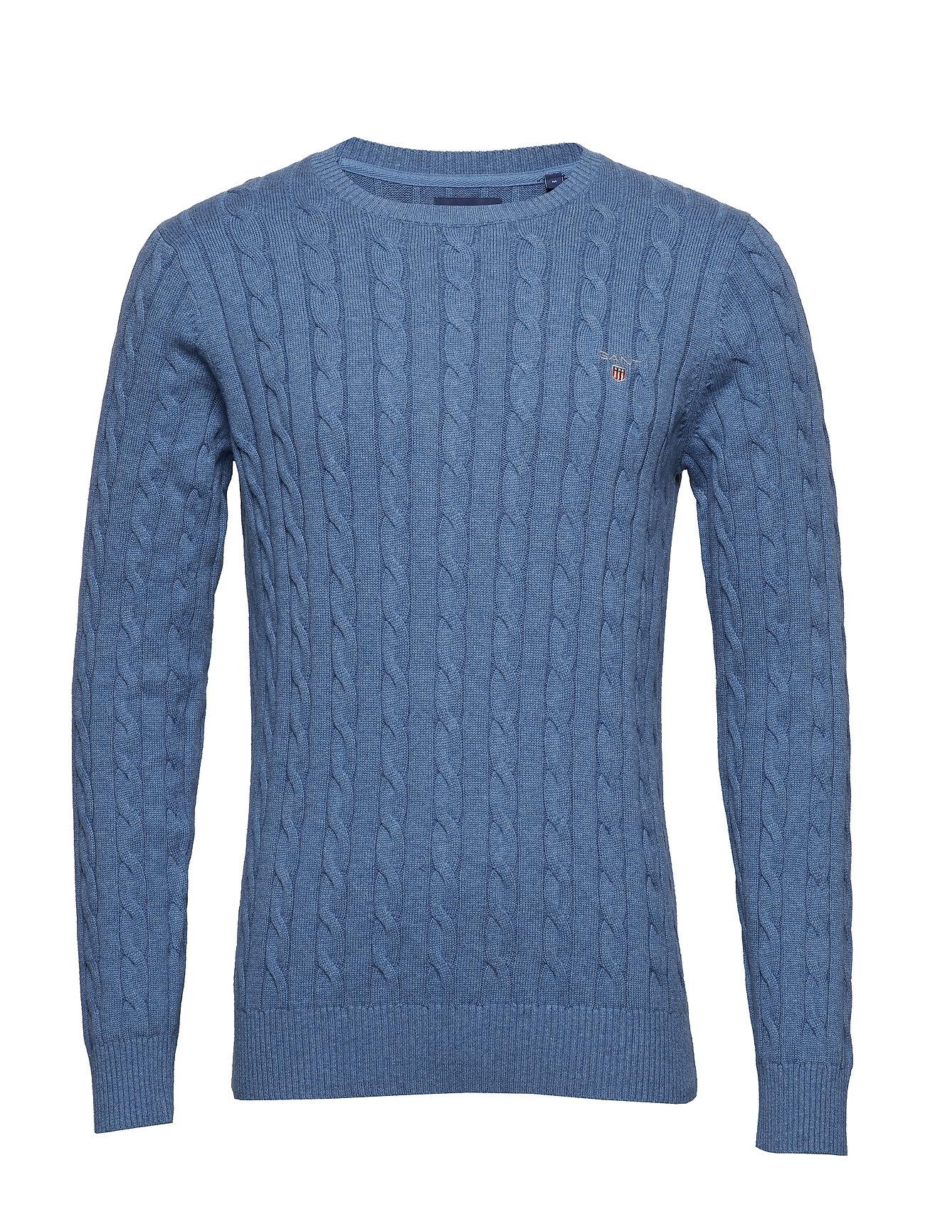 Gant COTTON CABLE CREW - DENIM BLUE MEL