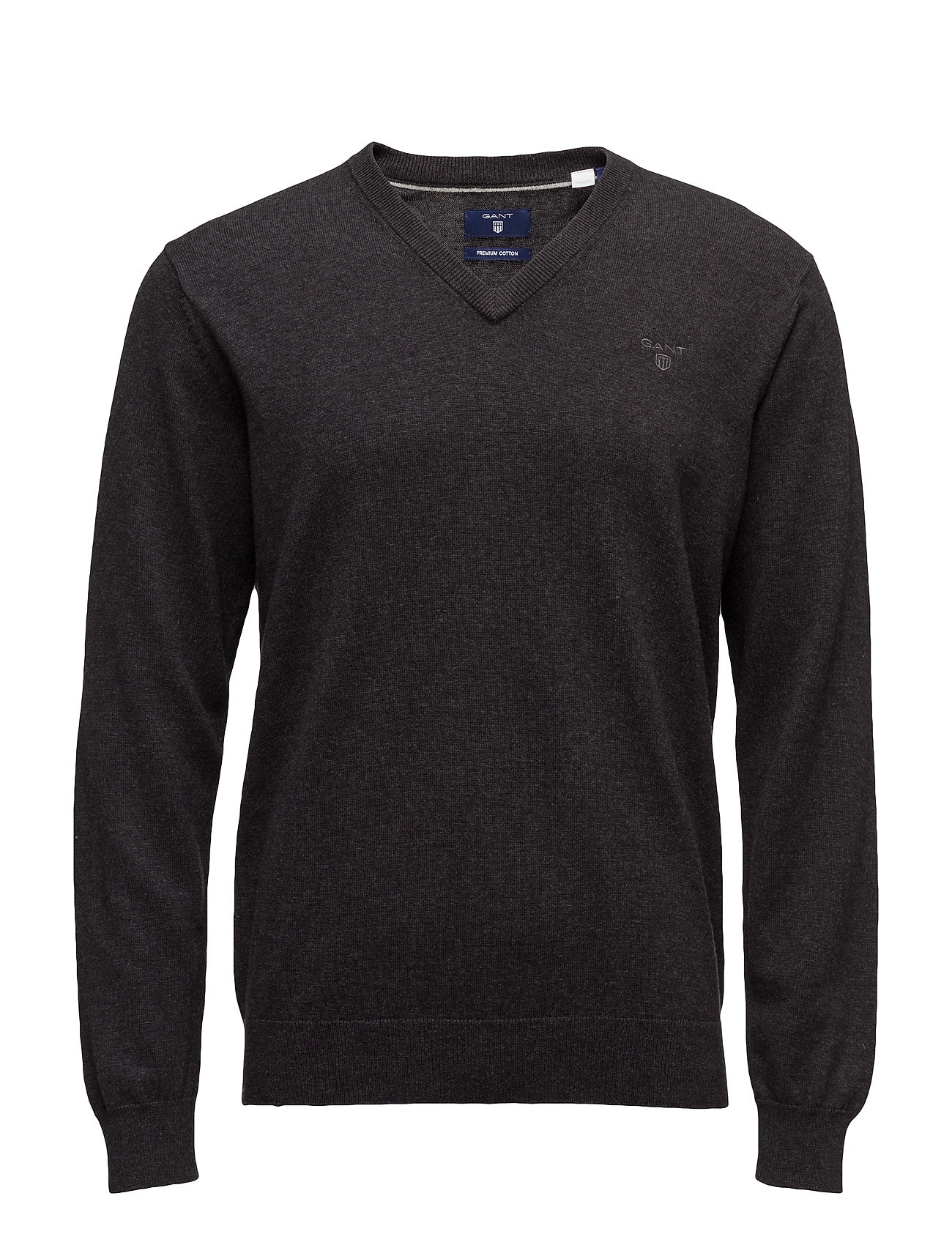 Gant LIGHT WEIGHT COTTON V-NECK - DK CHARCOAL MELANGE