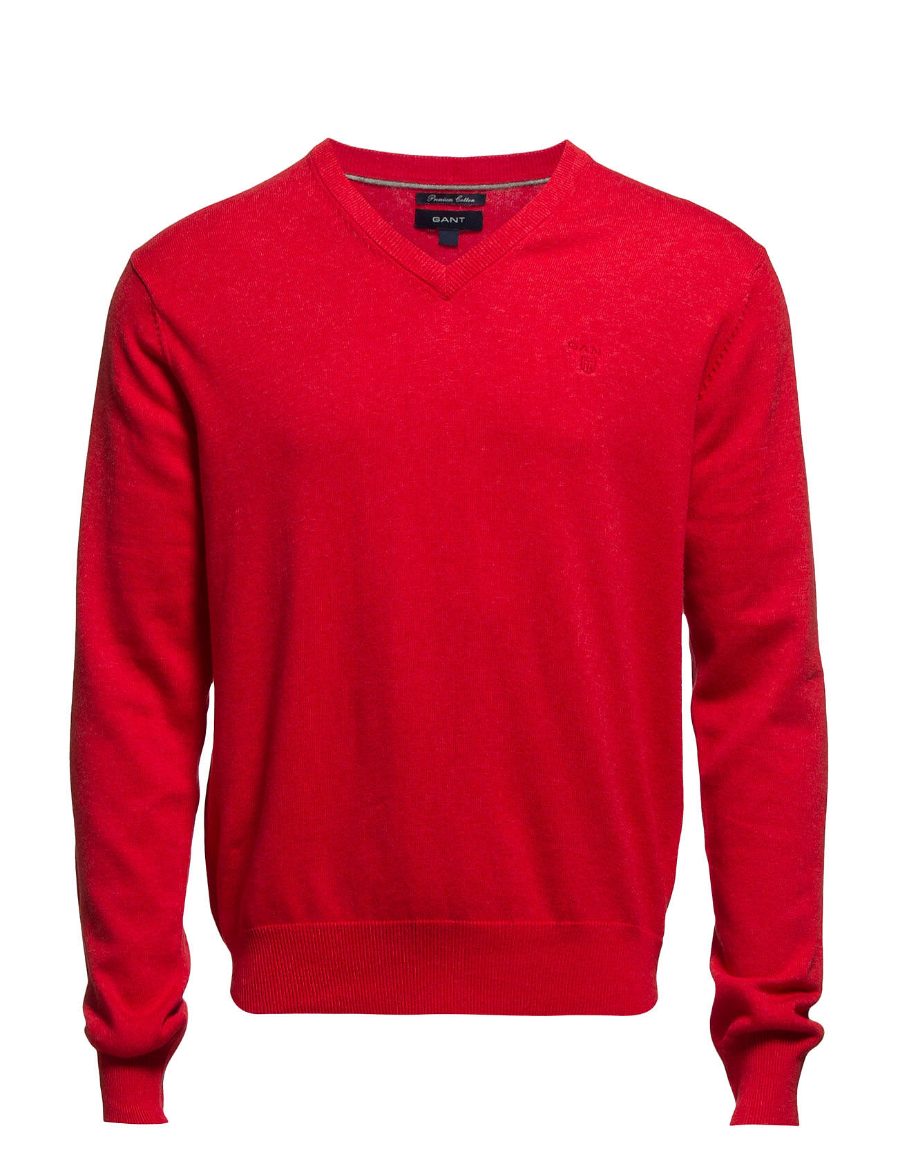 GANT LT. WEIGHT COTTON V-NECK - LIGHT RED MELANGE