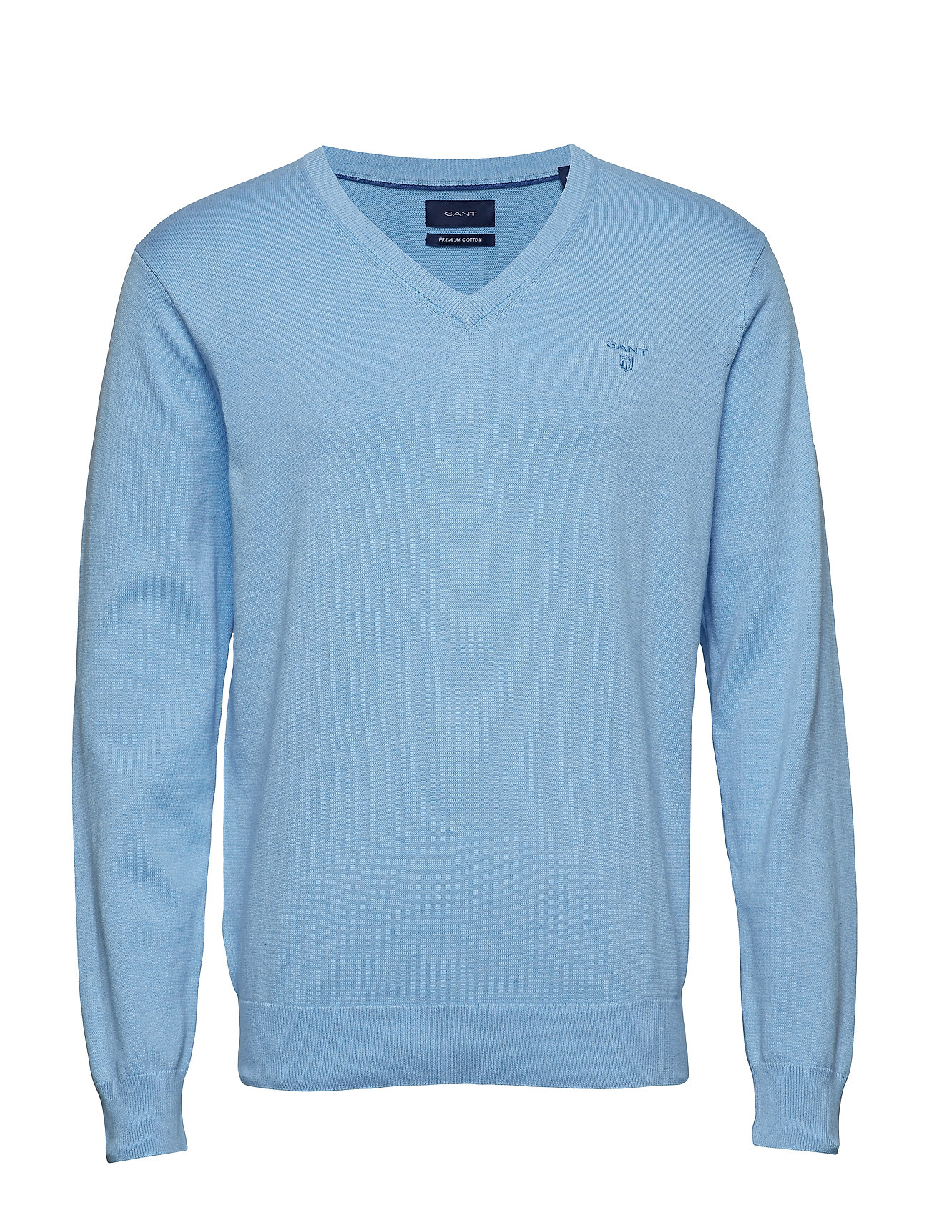Gant LIGHT WEIGHT COTTON V-NECK - LT BLUE MELANGE