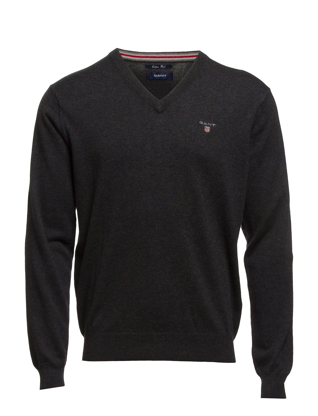 Gant COTTON WOOL V-NECK - DK CHARCOAL MELANGE