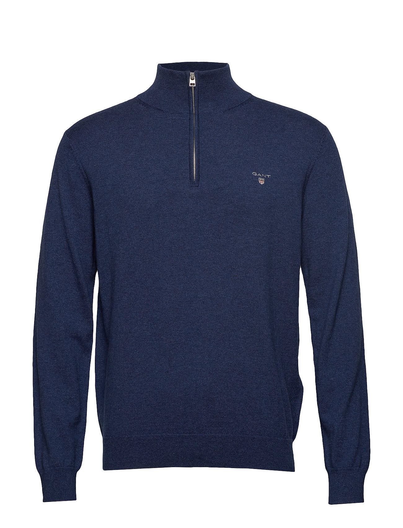 Gant COTTON WOOL HALF ZIP - MARINE MELANGE