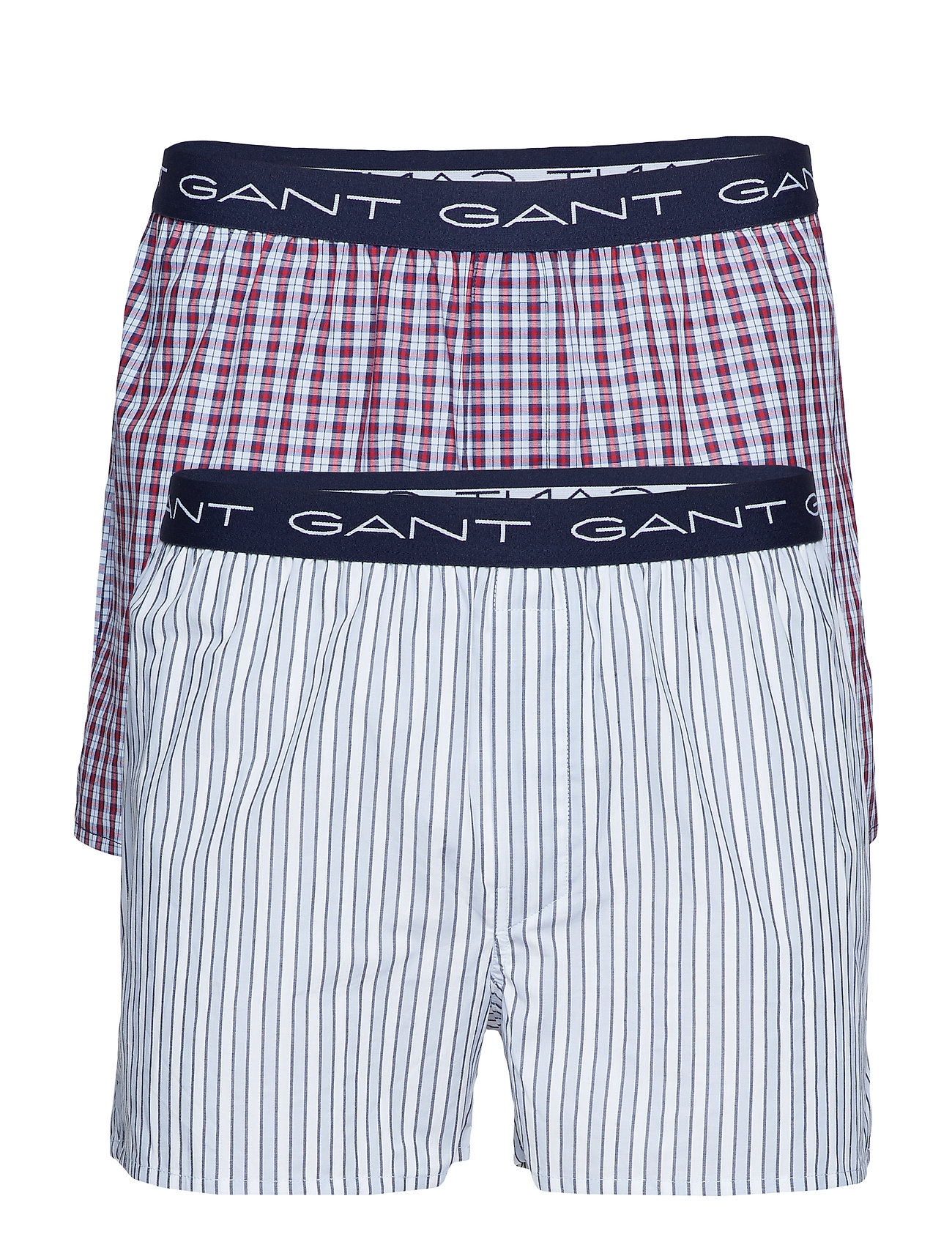 Gant 2-PACK BOX SH. STRIPE/CHECK LOGO - WHITE