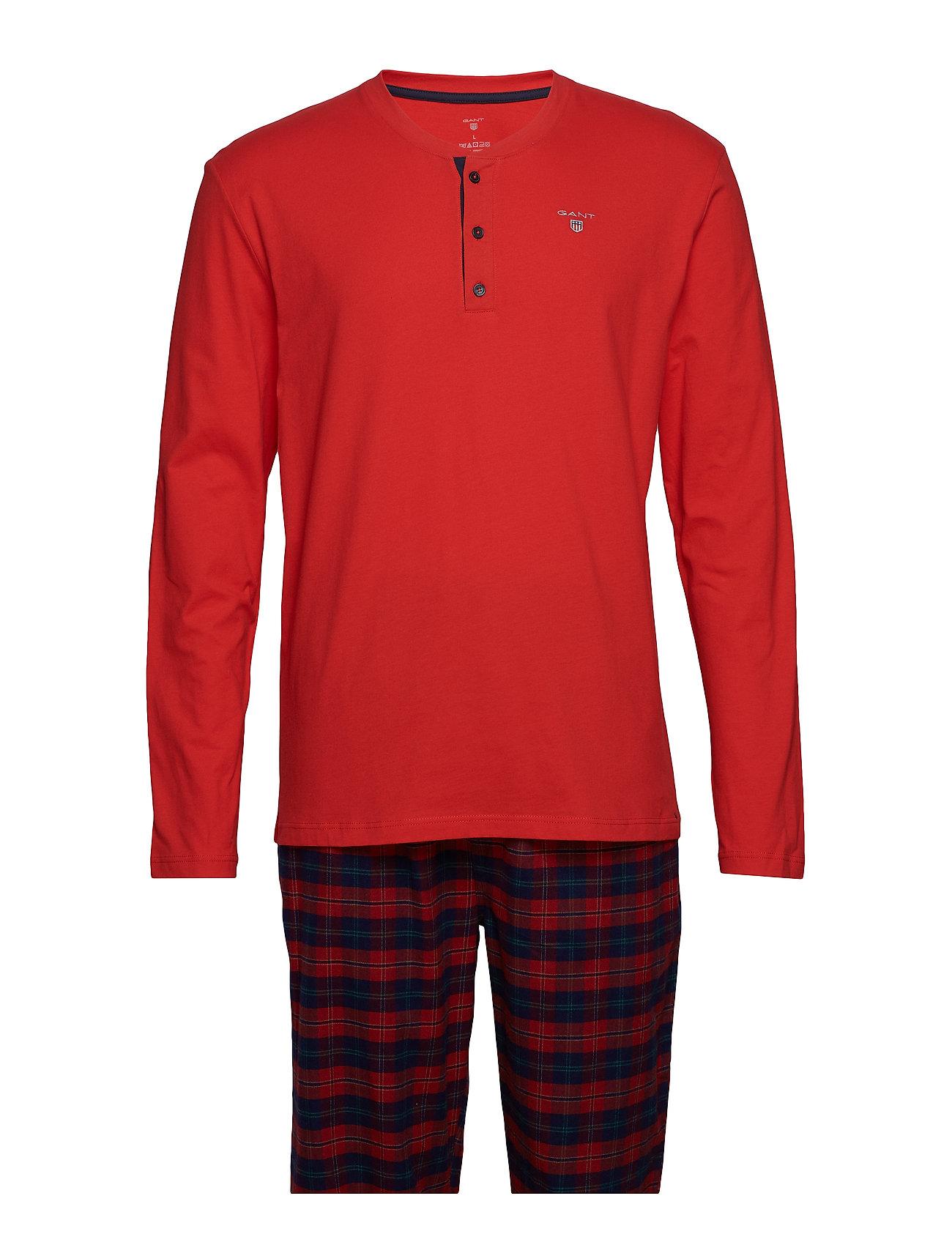 Gant PJ SET FLANNEL PANTS/HENLEY G.BOX - RED