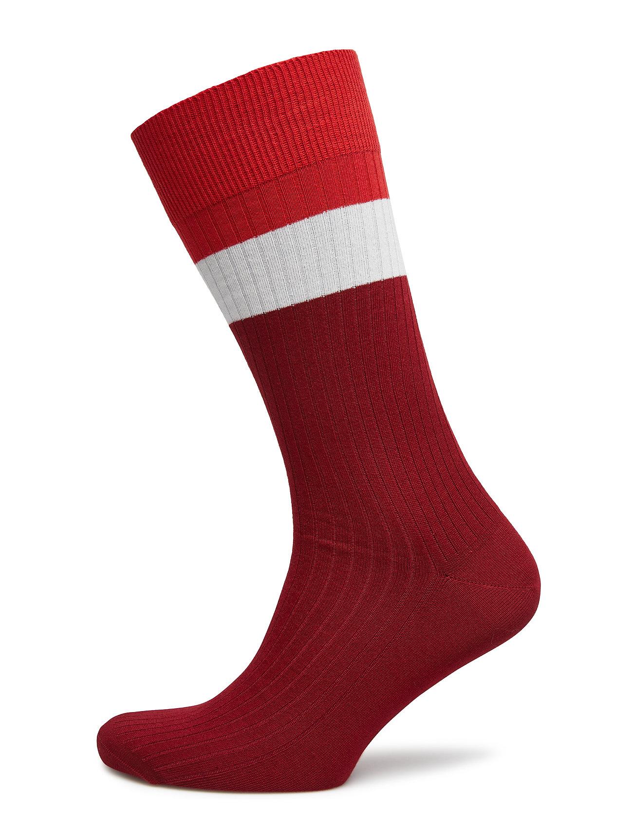 Gant O1. BLOCK COLOR RIB SOCKS - MAHOGNY RED