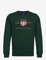 GANT - D2. ARCHIVE SHIELD C-NECK - tops - tartan green - 0