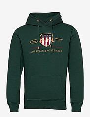 GANT - ARCHIVE SHIELD HOODIE - hoodies - tartan green - 0