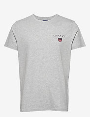 GANT - D1. MEDIUM SHIELD SS T-SHIRT - basic t-shirts - light grey melange - 0
