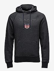 Gant - SHIELD HOODIE - hoodies - dark antracit melange - 0