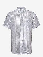 Gant - THE LINEN STRIPE REG SS BD - chemises de lin - white - 0
