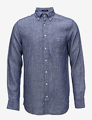 Gant - THE LINEN SHIRT REG BD - puuvillapaidat - college blue - 0