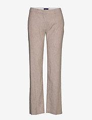 Gant - D2. STRETCH LINEN SLIM SLOUCH PANT - pantalons droits - dark khaki - 0
