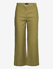 GANT - D1. HW SUMMER LINEN PANT - bukser med brede ben - olive green - 0
