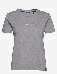 GANT - D1. 13 STRIPES SS T-SHIRT - t-shirts - grey melange - 0