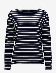 Gant - BRETON STRIPE BOATNECK JUMPER - logo t-shirts - evening blue - 0