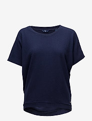 Gant - O1. SMALL SQUARE PATTERN C-NECK TOP - t-shirts - evening blue - 0