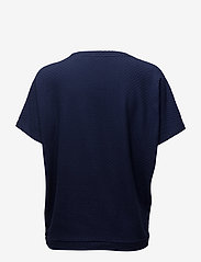 Gant - O1. SMALL SQUARE PATTERN C-NECK TOP - t-shirts - evening blue - 1