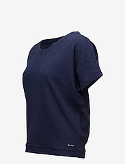 Gant - O1. SMALL SQUARE PATTERN C-NECK TOP - t-shirts - evening blue - 2