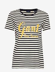 Gant - D1. STRIPE GRAPHIC SS T-SHIRT - logo t-shirts - evening blue - 0