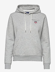 Gant - D1. MEDIUM SHIELD HOODIE - hoodies - light grey melange - 0
