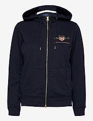 GANT - D2. ARCHIVE SHIELD FULL ZIP HOODIE - hoodies - evening blue - 0