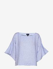 Gant - D2. LINEN STRIPE TOP - blouses à manches longues - pacific blue - 0