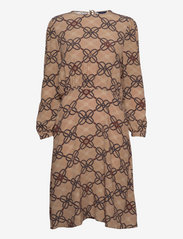 GANT - D1. ROPE PRINT VISCOSE CREPE DRESS - everyday dresses - warm khaki - 0