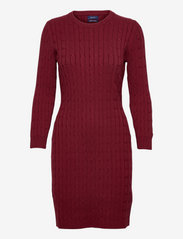 STRETCH COTTON CABLE DRESS - CABERNET RED