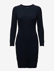 GANT - STRETCH COTTON CABLE DRESS - bodycon kleitas - evening blue - 0