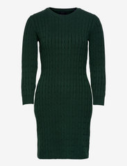 STRETCH COTTON CABLE DRESS - TARTAN GREEN