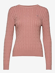 Gant - STRETCH COTTON CABLE C-NECK - tröjor - ash rose - 0