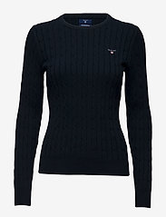 GANT - STRETCH COTTON CABLE C-NECK - jumpers - evening blue - 0