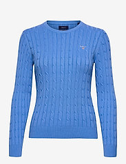 GANT - STRETCH COTTON CABLE C-NECK - jumpers - pacific blue - 0