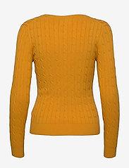 GANT - STRETCH COTTON CABLE V-NECK - jumpers - ivy gold - 1