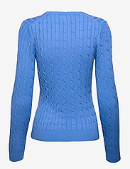 GANT - STRETCH COTTON CABLE V-NECK - jumpers - pacific blue - 1