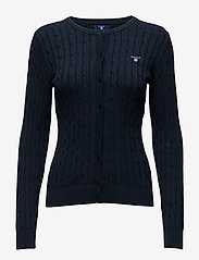 Gant - STRETCH COTTON CABLE CREW CARDIGAN - cardigans - evening blue - 0